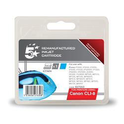 5 Star Office Remanufactured Inkjet Cartridge Page Life 935pp Cyan [Canon CLI-8C Alternative]