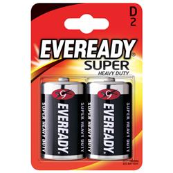 Eveready Super Heavy Duty D Batteries (Pack of 2) Ref R20B2UP