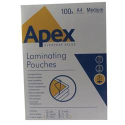 Fellowes Apex Laminating Pouch A4 Medium Duty Clear Pk 100 Ref 6003501