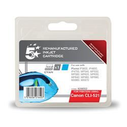 5 Star Office Remanufactured Inkjet Cartridge Page Life 470pp Cyan [Canon CLI-521C Alternative]
