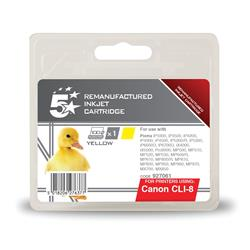 5 Star Office Remanufactured Inkjet Cartridge Page Life 327pp Yellow [Canon CLI-8Y Alternative]