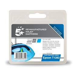 5 Star Office Remanufactured Inkjet Cartridge Capacity 3.5ml Cyan [Epson T1282 Alternative]