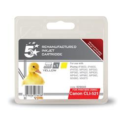 5 Star Office Remanufactured Inkjet Cartridge Page Life 470pp Yellow [Canon CLI-521Y Alternative]