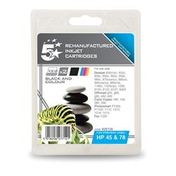 5 Star Office Remanufactured Inkjet Cartridge 833/450pp Black/Colour [HP 45/78 SA308AE][Pack 2]