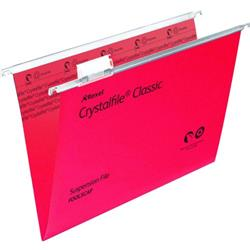Rexel Crystalfile Classic Suspension File Manilla V-base 15mm Foolscap Red Ref 78141 - Pack 50