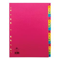 Concord Bright Index A-Z 20-Part Card Multipunched 160gsm A4 Assorted Ref 52499