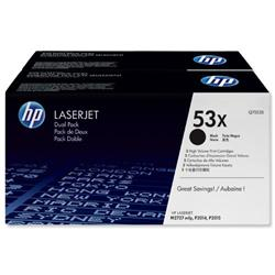HP 53X 2-pack High Yield Black Original LaserJet Toner Cartridges (Q7553XD) - Up to £100 Cashback