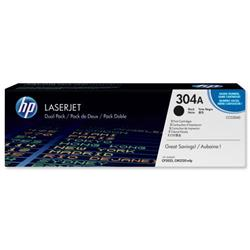 Hewlett Packard HP No. 304A Laser Toner Cartridge Page Life 3500pp Black Ref CC530AD - Pack 2