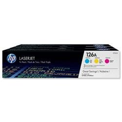 Hewlett Packard HP 126A Laser Toner Cartridge Page Life 1000pp Cyan/Magenta/Yellow Ref CF341A - Pack 3