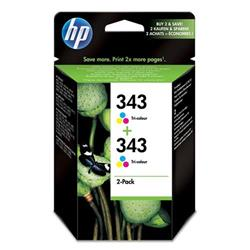 Hewlett Packard HP No. 343 Inkjet Cartridge Page Life 520pp 2x7ml Colour Ref CB332EE - Twin Pack