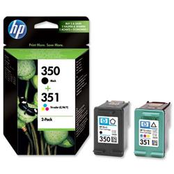 Hewlett Packard HP No. 350 & No. 351 Inkjet Cartridge Combo Pack 200pp Black and Colour Ref SD412EE