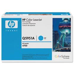 Hewlett Packard HP No. 643A Cyan Laser Toner Cartridge for Color LaserJet 4700 Ref Q5951A