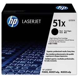 Hewlett Packard HP 51x High Yield Black Laser Toner Cartridge Ref Q7551X