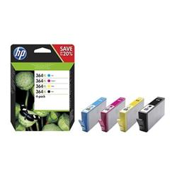 HP 364XL (Yield 550 Pages Black, 750 Pages Cyan/Magenta/Yellow) Black/Cyan/Magenta/Yellow Ink Cartridges (4-Pack)