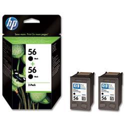 Hewlett Packard HP No. 56 Black Inkjet Print Cartridge 19ml Ref C9502AE - Twin Pack