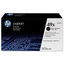 HP 49X 2-pack High Yield Black Original LaserJet Toner Cartridges (Q5949XD) - Up to £100 Cashback
