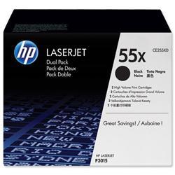 HP 55X 2-pack High Yield Black Original LaserJet Toner Cartridges (CE255XD) - Up to £100 Cashback