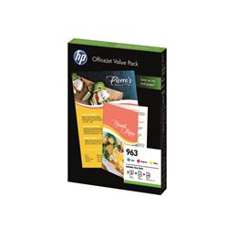 HP 963 Cyan/Magenta/Yellow Ink Cartridge and Paper A4 Office Value Pack (125 Pack) 6JR42AE