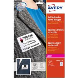 Badge adeisvi in seta acetata per stampanti laser Avery  6,35x2,96 cm - Bianco - conf. 20