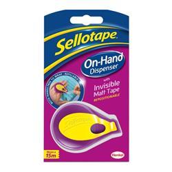 Sellotape On Hand Invisible Dispenser 18mmx15m Matt White Ref 2379004