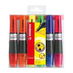 Stabilo Luminator Highlighters Chisel Tip 2-5mm Wallet Assorted Ref 71/6 [Pack 6]