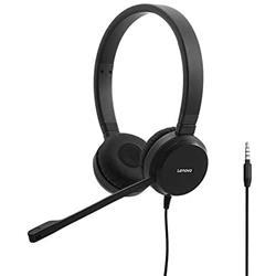Cuffie con filo Lenovo Wired Voip - Jack 3,5 mm - microfono - controllo volume - cancellazione del rumore - nero