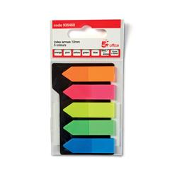 5 Star Office Index Arrow 5 Bright Colours 12.5x50mm 5 Packs of 20 Flags [100 Flags]