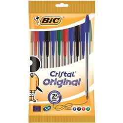Bic Cristal Ball Pen Clear Barrel 1.0mm Tip 0.32mm Line Assorted Ref 830865 [Pack 10]