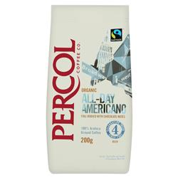 Percol Fairtrade Cafe Americano Ground Coffee Organic Arabica High Roast 200g Ref 0403154