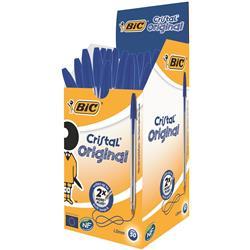 Bic Cristal Ball Pen Clear Barrel 1.0mm Tip 0.32mm Line Blue Ref 8373602 - Pack 50