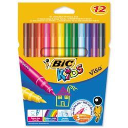 Bic Kids Visa Felt Tip Pens Washable Fine Tip Assorted Ref 888695 - Pack 12