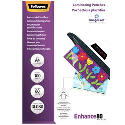 Pouches Fellowes - 80 micron per lato - A4 - lucida - conf. 100