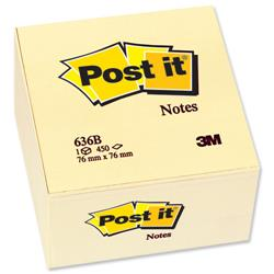 Post-it Note Cube Pad of 450 Sheets 76x76mm Yellow Ref 636-B