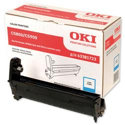 OKI Cyan Laser Drum Unit Page for C5550 MFP/C5800/C5900 Ref 43381723