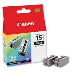 Canon BCI-15 Black Inkjet Cartridge Twinpack Ref 8190A002