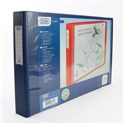 Elba Vision Ring Binder PVC Clear Front Pocket 4 O-Ring A3 Landscape Blue Ref 100082460 [Pack 2]