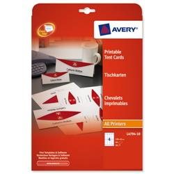 Avery L4794 Printable Business Tent Card 4 per Sheet 120x45mm White 190gsm Ref L4794-10 - 40 labels