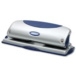 Rexel P425 Metal 4-Hole Punch with Nameplate Capacity 25x 80gsm Blue and Silver Ref 2100754