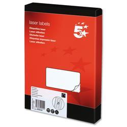 5 Star Office Multipurpose Labels Laser 21 per Sheet 63.5x38.1mm White [5250 Labels]