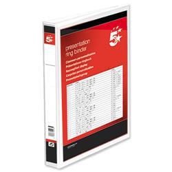 5 Star Office Presentation Ring Binder Polypropylene 2 D-Ring 25mm Size A4 White [Pack 10]