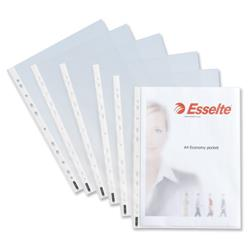 Esselte Economy Pocket Polypropylene Multipunched Top-opening A4 Clear Ref 56133 [Pack 100]