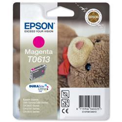 Epson T0613 Inkjet Cartridge Teddybear Page Life 250-370pp Magenta Ref C13T06134010