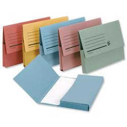 5 Star Office Document Wallet Half Flap 285gsm Recycled Capacity 32mm Foolscap Assorted [Pack 50]