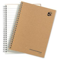 5 Star Eco Notebook Wirebound Hard Cover Recycled 80gsm A5 Manilla [Pack 5]
