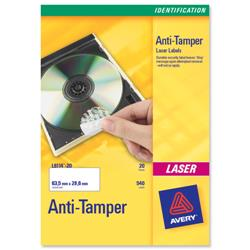 Avery L6113 48TV Anti-Tamper Labels 45.7x21.2mm Ref L6113-20 - 20 Sheets