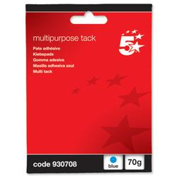 5 Star Office Multipurpose Tack Adhesive Re-usable Non-toxic 70g Blue [Pack 12]