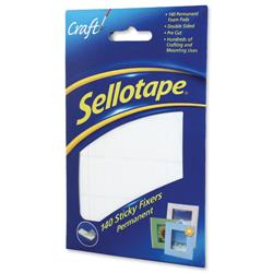Sellotape Sticky Fixers Double-sided 12x25mm 140 Pads Ref 1445422 - Pack 6
