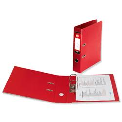5 Star Office Lever Arch File Polypropylene Spine 70mm A4 Red [Pack 10]