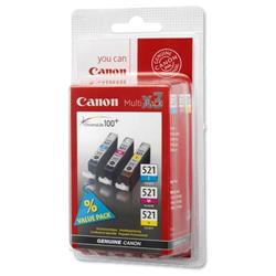 Canon CLI-521 3 Colour Multipack Cartridge (Cyan/Magenta/Yellow) Ref 2934B007