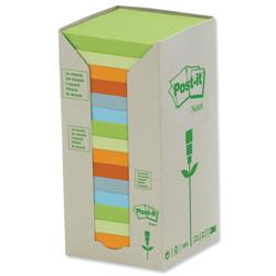 Post-it Notes Pad Recycled Tower Pack 76x76mm Pastel Rainbow Ref 654-1RPT - Pack 16